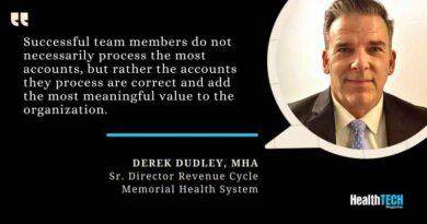 Derek Dudley, MHA, Sr. Director Revenue Cycle, Memorial Health System